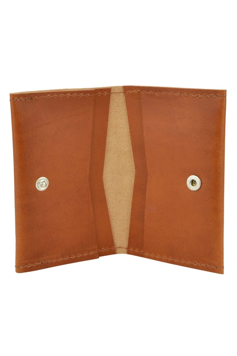 leather card holder bowie rust inside