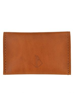 leather card holder bowie rust front