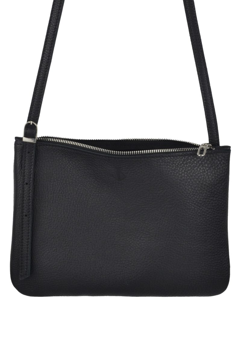 small leather shoulder bag evy charcoal inside