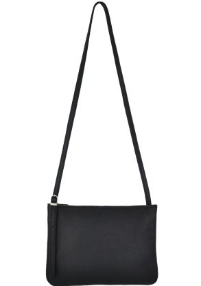 small leather shoulder bag evy charcoal front