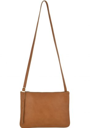 small leather shoulder bag evy cognac front