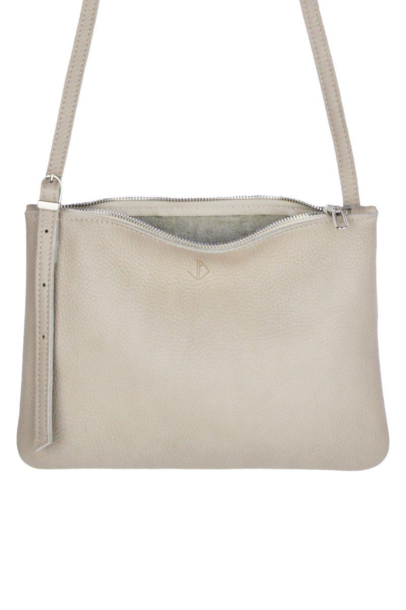 small leather shoulder bag evy moon inside