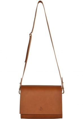 minimalist leather shoulderbag inez rust front