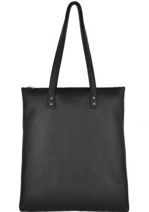 handmade leather shopper mae charcoal front