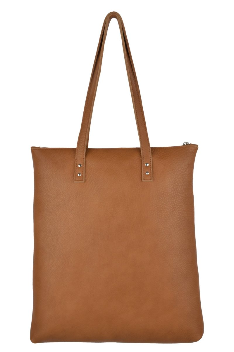 handmade leather shopper mae cognac back