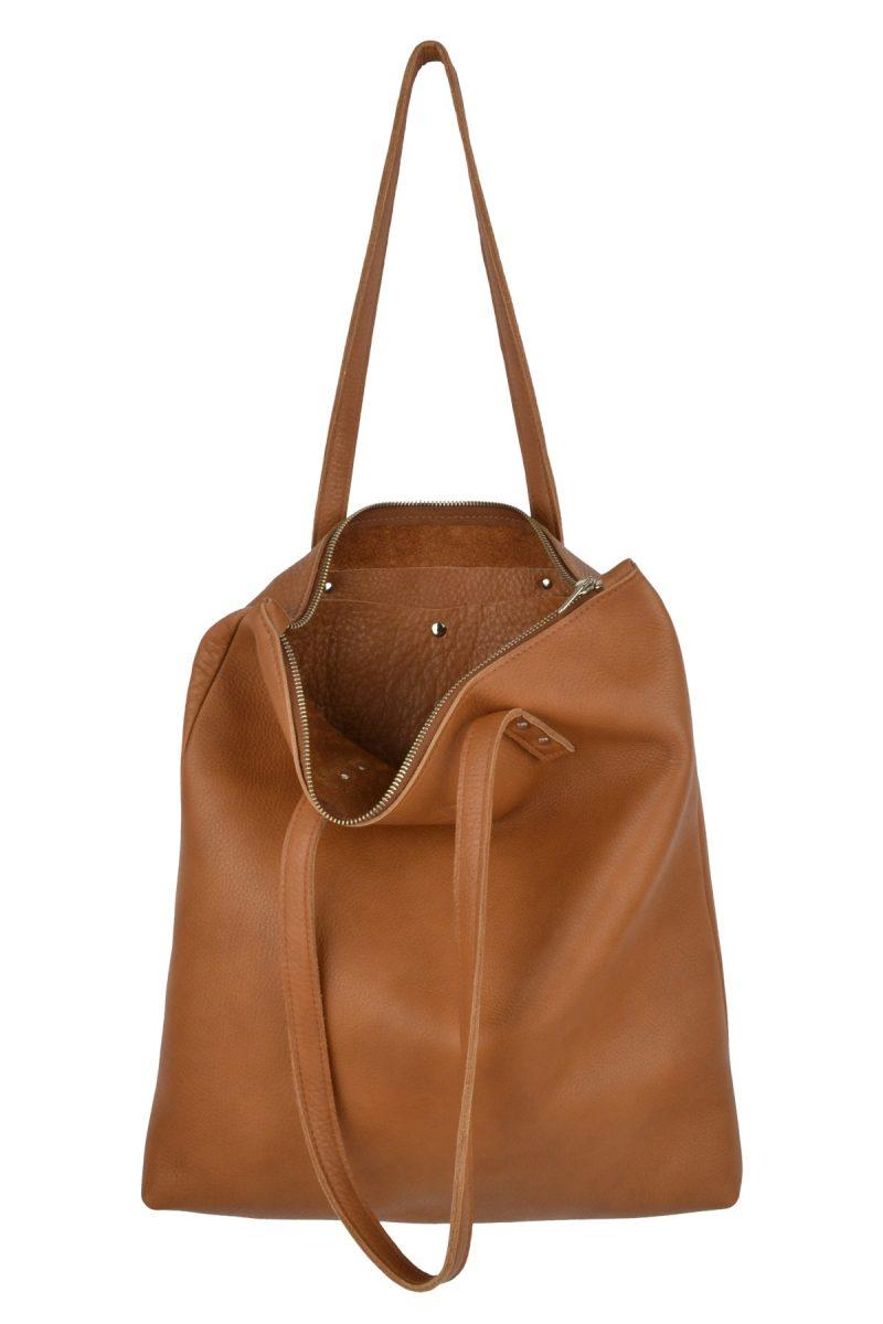 handmade leather shopper mae cognac inside