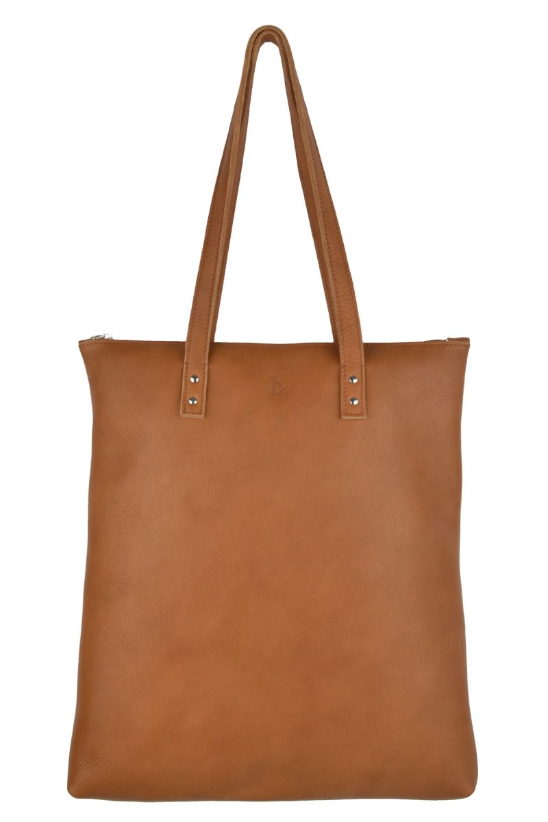 handmade leather shopper mae cognac front