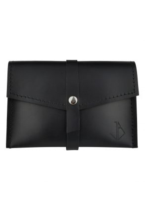 handmade leather wallet mila onyx front