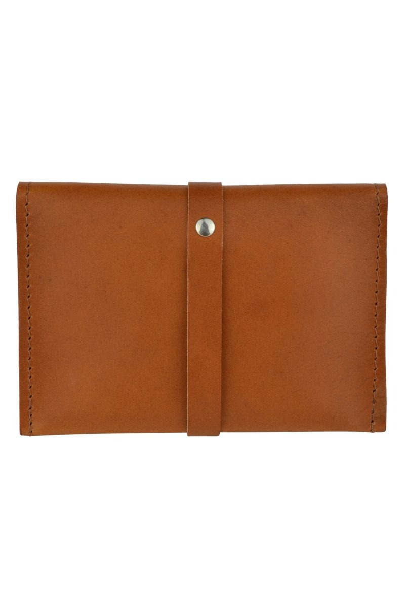 handmade leather wallet mila rust back