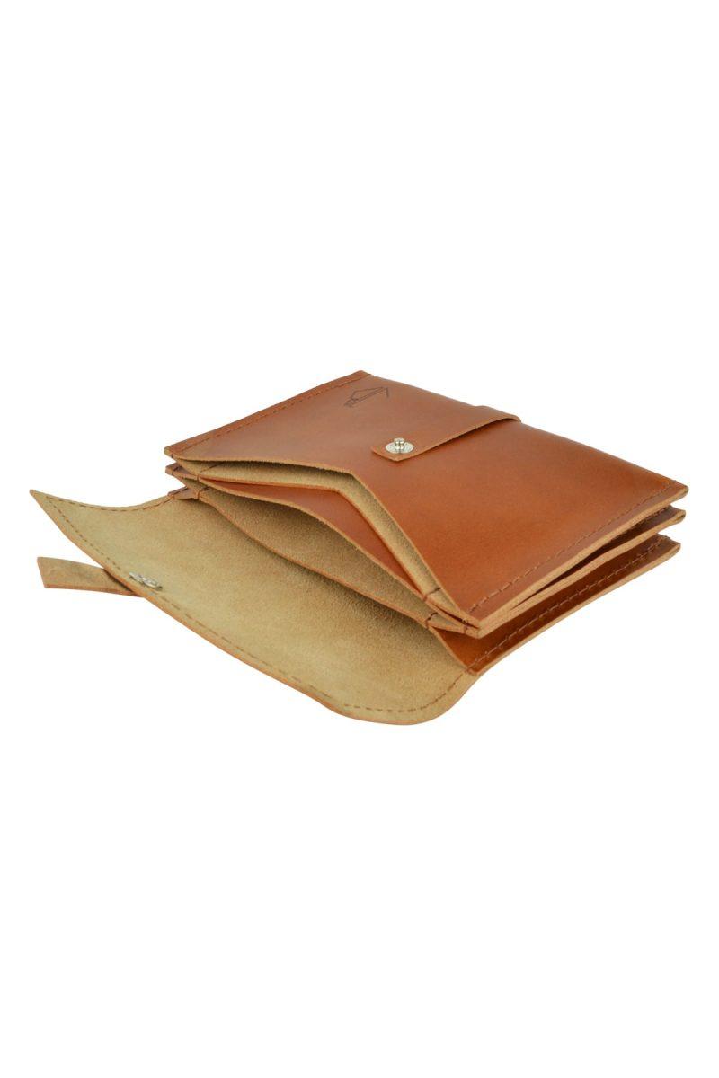 handmade leather wallet mila rust inside