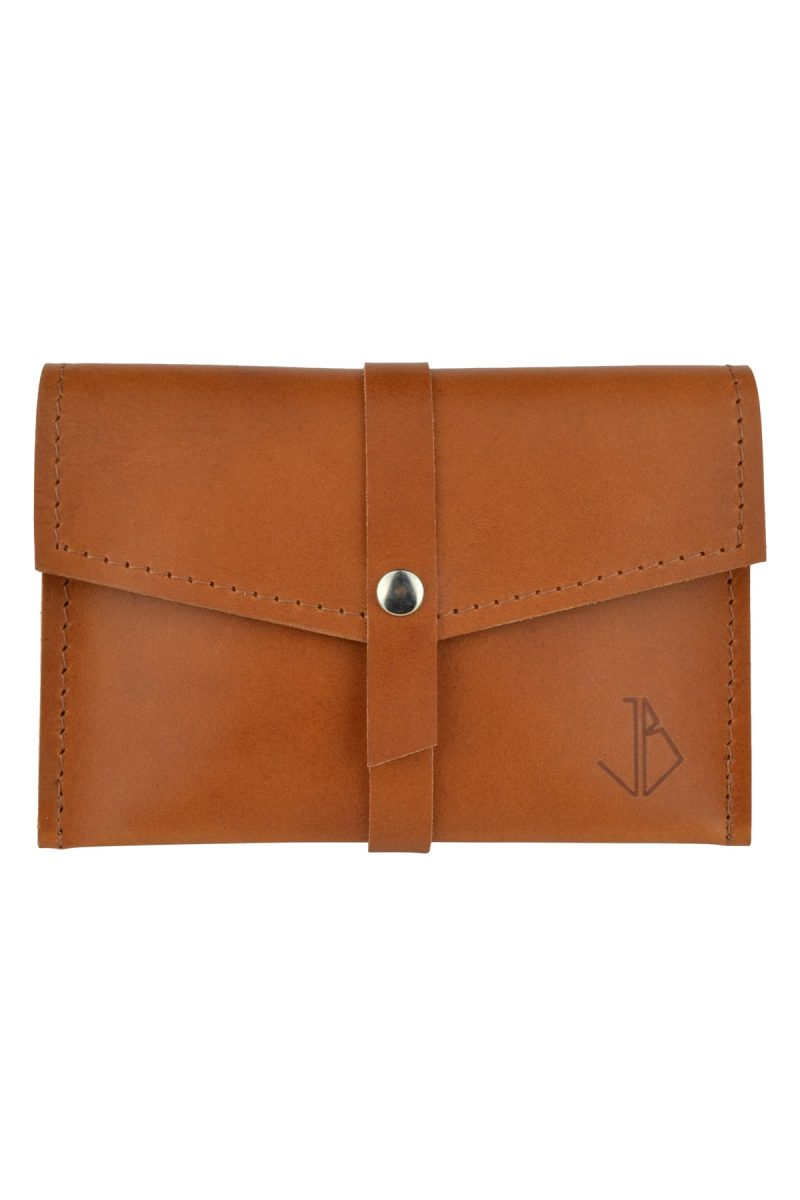 handmade leather wallet mila rust front