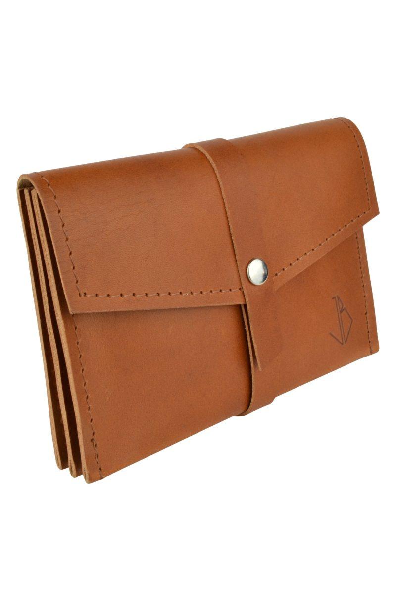 handmade leather wallet mila rust side