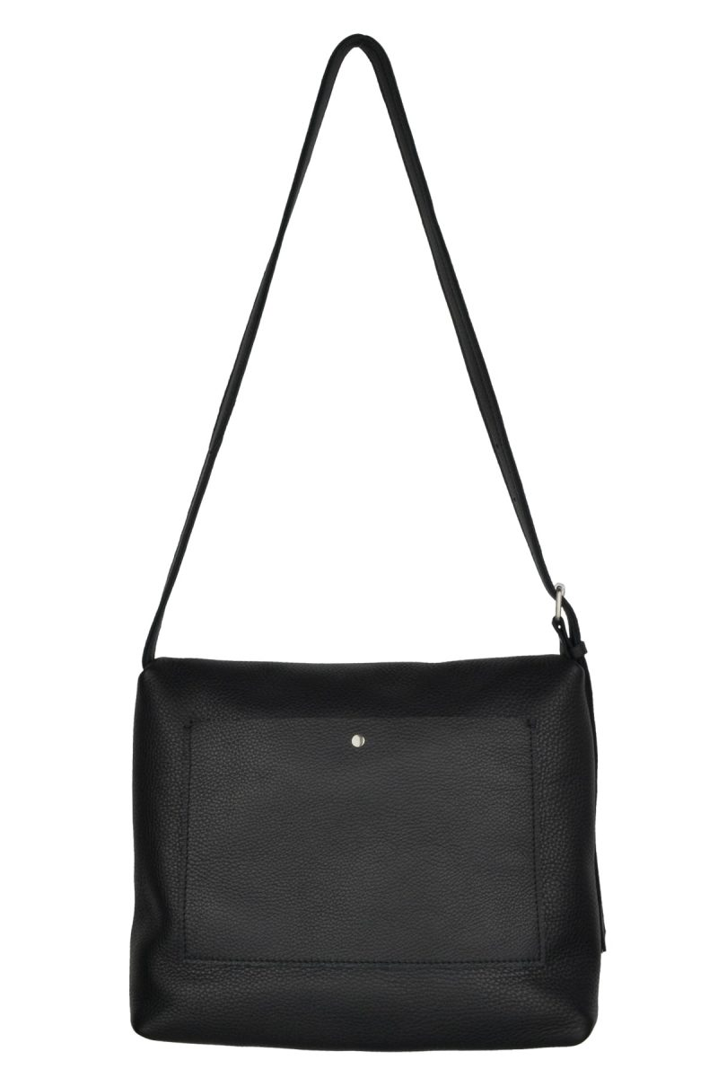 handmade leather shoulder bag viq charcoal back