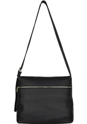 handmade leather shoulder bag viq charcoal front