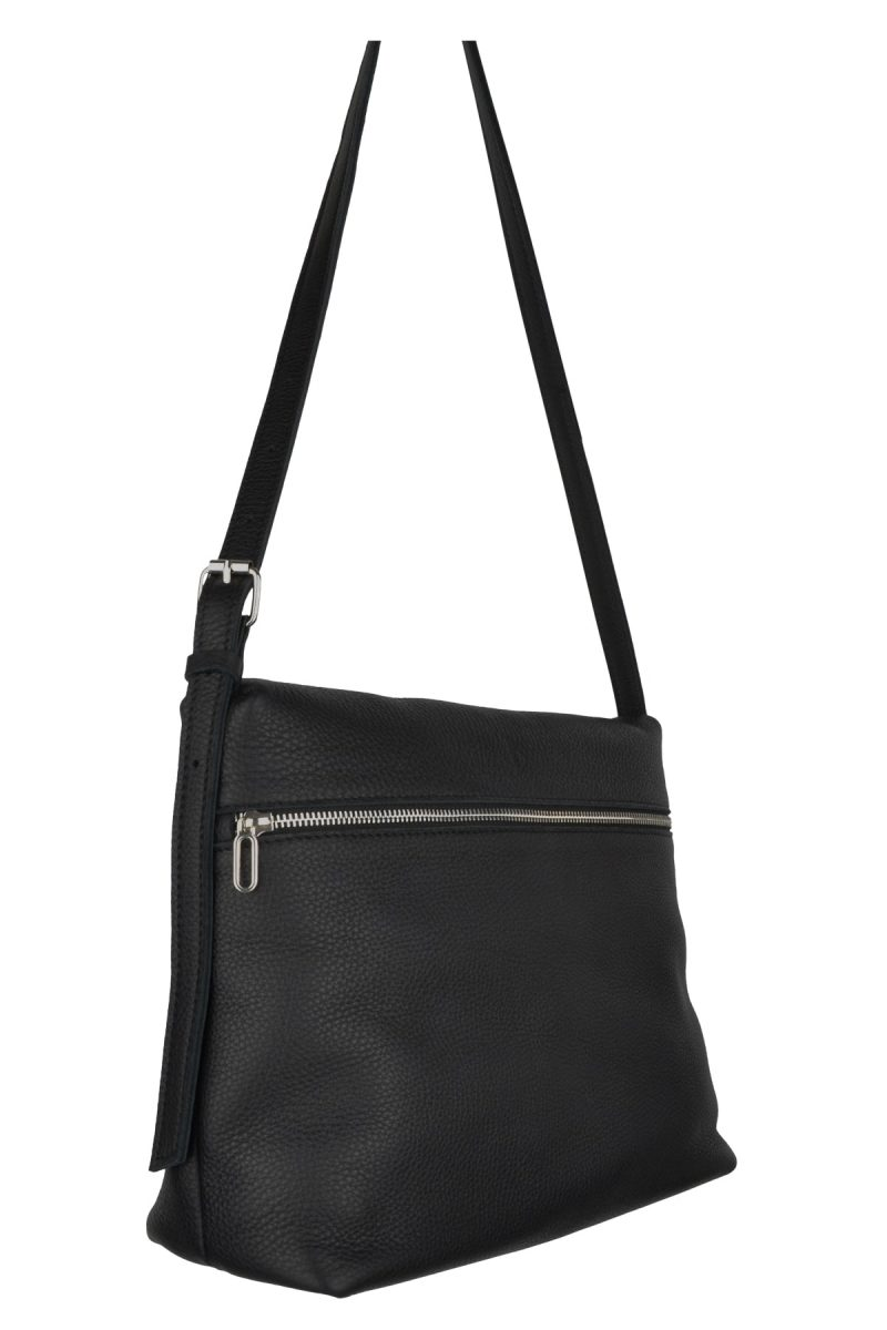 handmade leather shoulder bag viq charcoal side