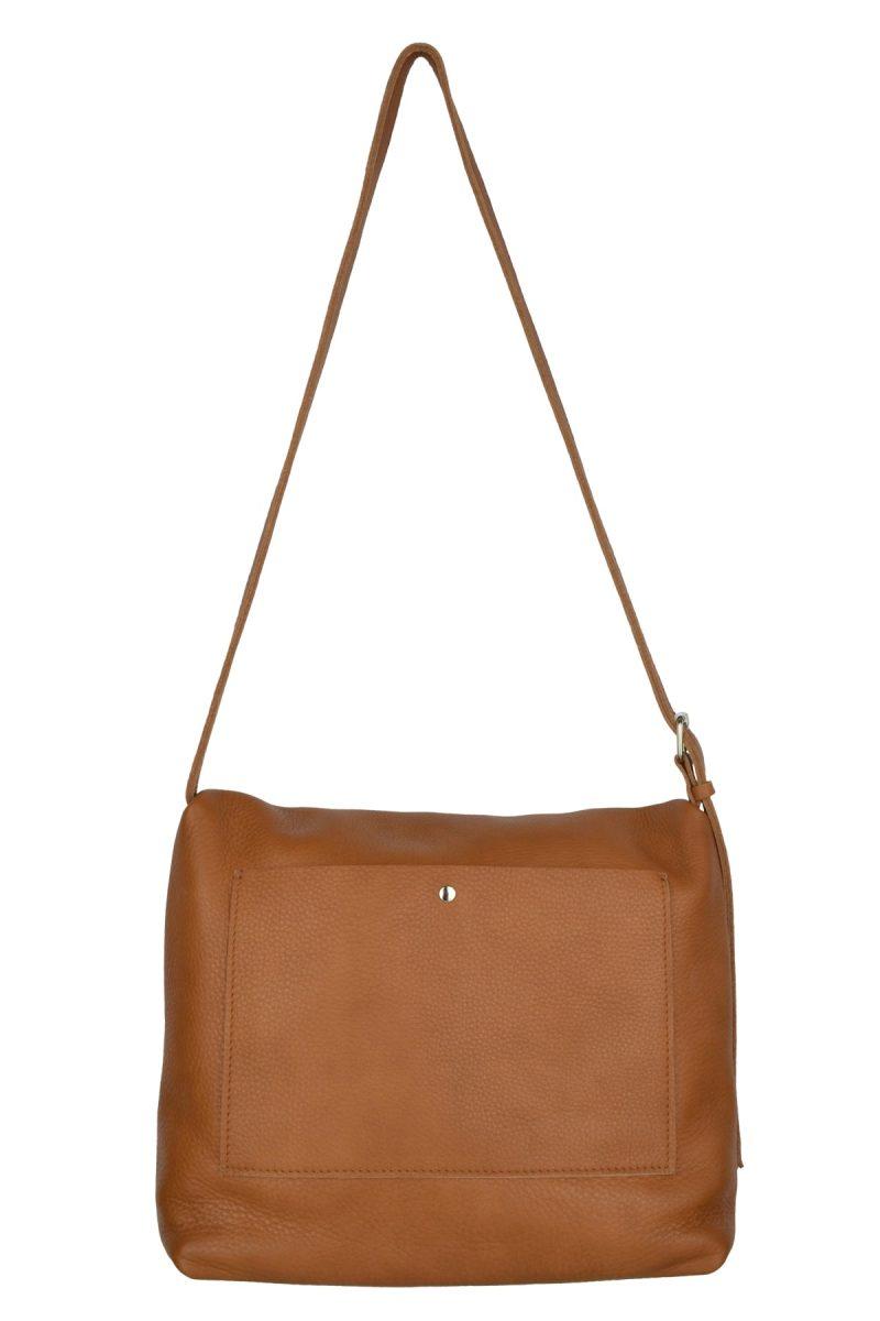 handmade leather shoulder bag viq cognac back
