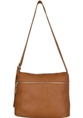 handmade leather shoulder bag viq cognac front