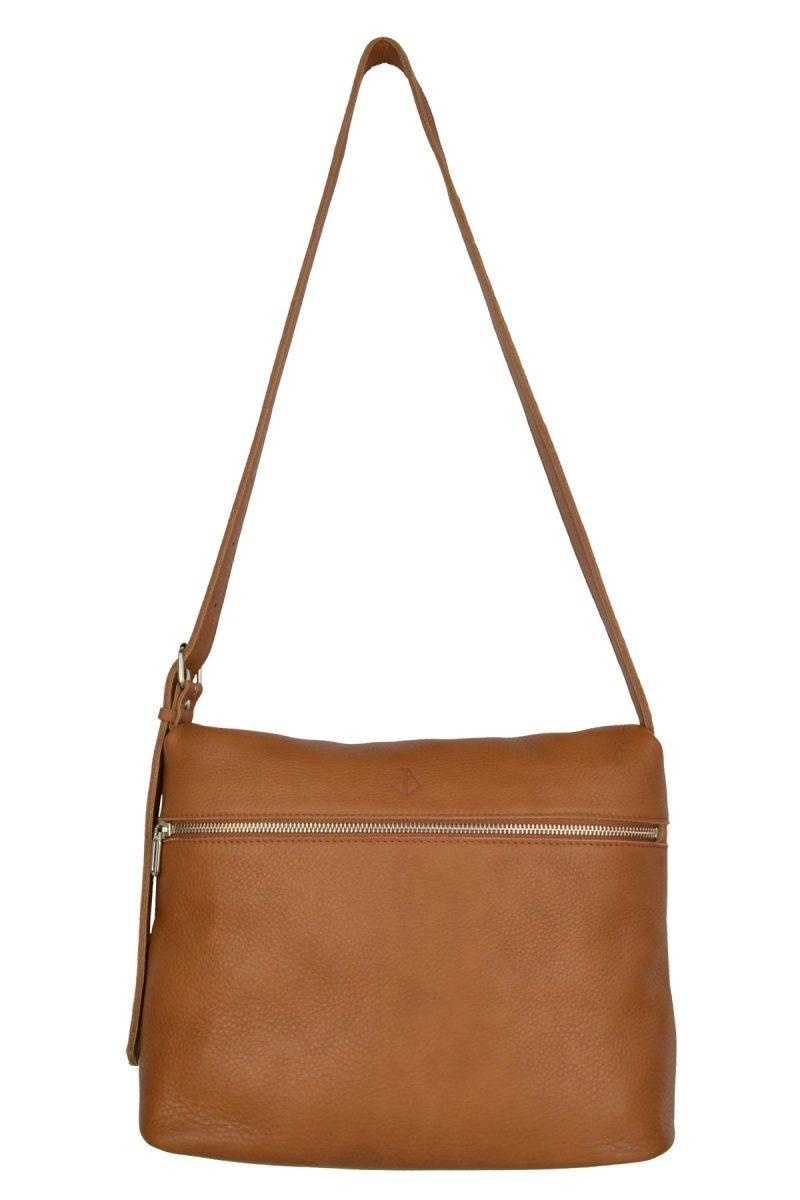 handmade leather shoulder bag viq cognac front
