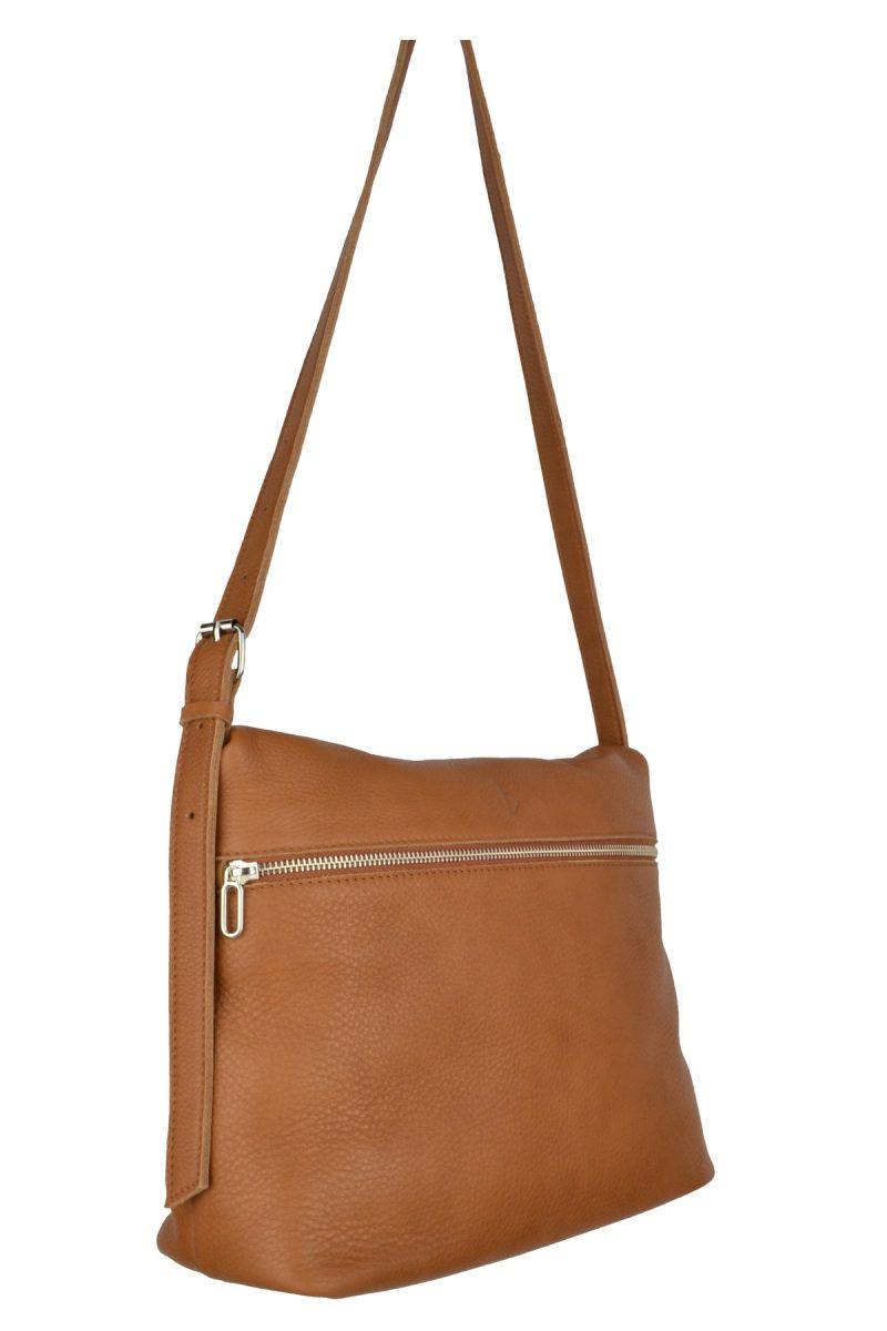 handmade leather shoulder bag viq cognac side