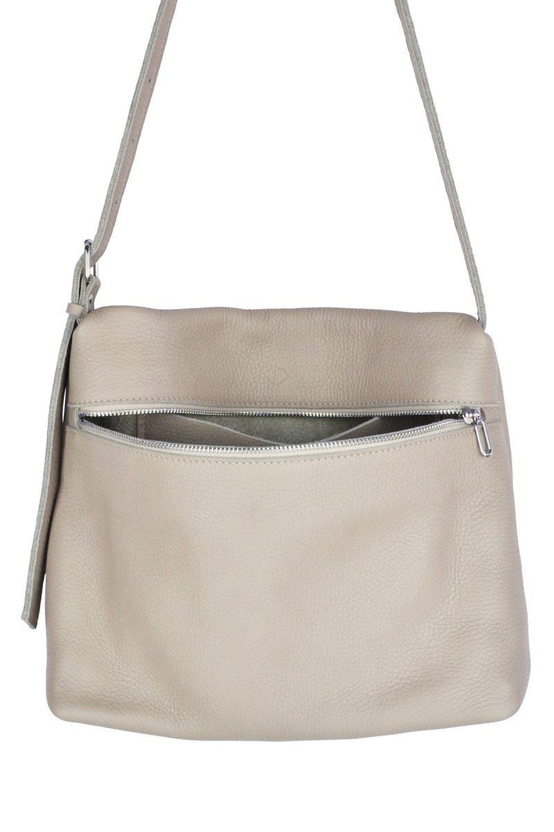 handmade leather shoulder bag viq moon inside